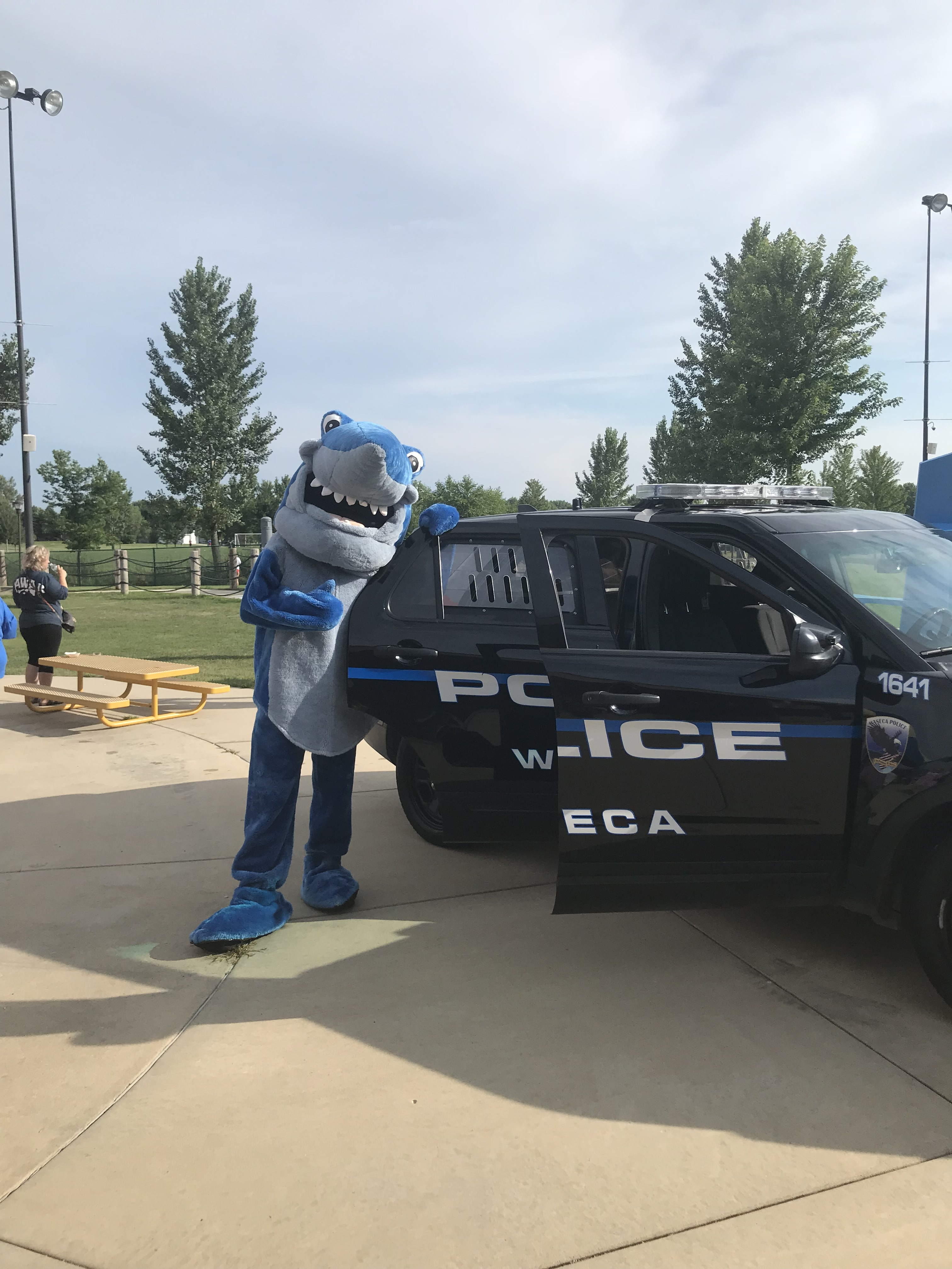 Waseca PD Car and Shark Mascot