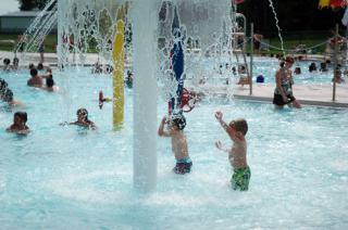 Kids playing in pool